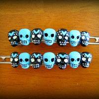 Heart and Skull Haunted Hair Candy Hair Barrette