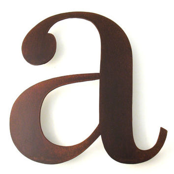 Metal A Lowercase Sign Letter - Rusty Rustic Wall Art Sculpture Decor