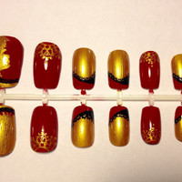 Red Gold Lion Inspired Lace Design Press On False Nails Fake Nails