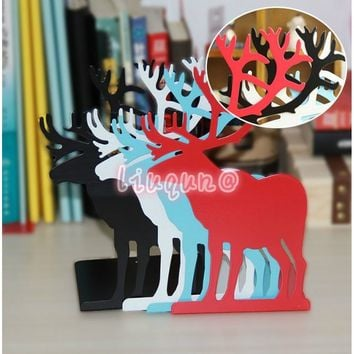 2 Pieces/lot Bookend Bookshelf Gift Deer Iron Desk Organizer Korean Fashion Cute Metal Bookends Red Book Support Holder