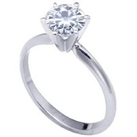 Stunning! 14k White-gold 5.00mm (0.41CT Actual Weight, 0.50CT Diamond Equivalent Weight) Moissanite Solitaire 6-Prong Engagement Ring by Vicky K Designs