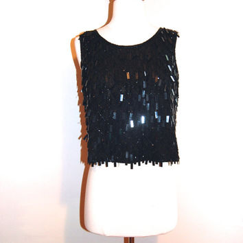 Sparkle Bead Blouse Black Party Evening Silk Shiny Tassel Unusual Top by Stenay size S