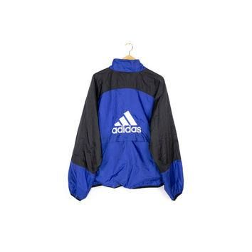 90s ADIDAS windbreaker jacket - vintage 1990s - big embroidered 3 stripes logo - mens