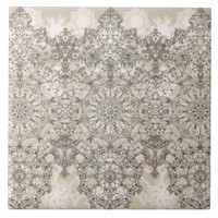 Elegant laced golden white pattern ceramic tile