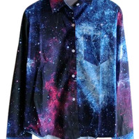 ROMWE | ROMWE Galaxy Print Blue Shirt, The Latest Street Fashion