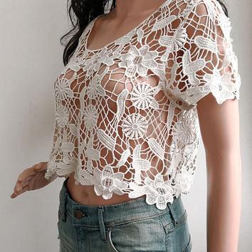 Vintage Crop Top 90s Sheer Blouse Boho Shirt Cream Knit Bohemian Grunge OPEN weave Summer 1990s Vintage Festival Short Sleeve