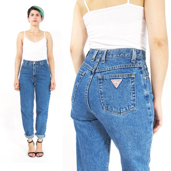90s GUESS Mom Jeans High Waist Jeans Tapered Leg Jeans Slim Fit Blue Jeans Medium Wash Denim Skinny Jeans Petites Grunge 26 Inch Waist (XS)