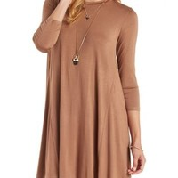 Camel Trapeze Shift T-Shirt Dress by Charlotte Russe