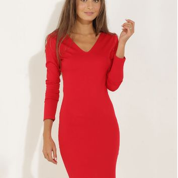 Red V-Neck Backless Bodycon Dress
