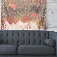 "Marianna Tankelevich ""Pink Space Mountain"" Multicolor Coral Mixed Media Wall Tapestry"