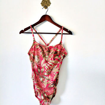 Vintage Catalina 90's Red Tropical Leaf Print Crisscross Back One Piece Swimsuit Size 8/10 Medium