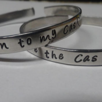 You're The Dean To My Cas/Cas To My Dean Hand Stamped Metal Cuff Bracelet (SET)