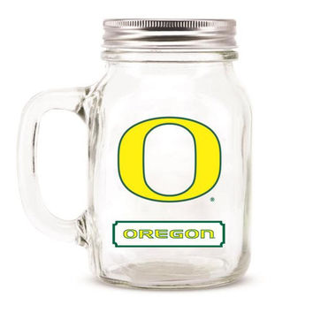 Oregon Ducks NCAA Mason Jar Glass With Lid