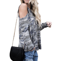 Fashion Ladies Cold Off Shoulder Camouflage Floral Print Loose Pullover Blouse Shirt O Neck Tops