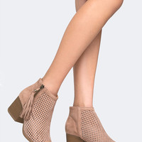 Perforated Fringe Bootie