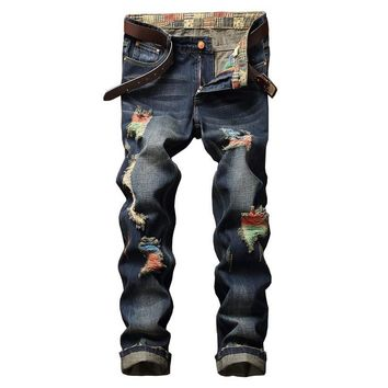 Men Jeans Ripped Holes Fashion Strong Character Brush [9892501251]