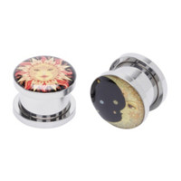 Steel Sun And Moon Spool Plug 2 Pack