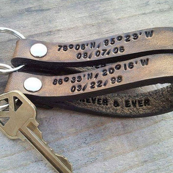 ONE YEAR Anniversary, Anniversary of One Year, One Year Wedding Anniversary, Leather Keychain, One Year Anniversary Gift, One Year
