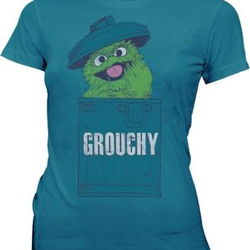 Sesame Street Oscar the Grouch Grouchy Mosaic Blue Juniors T-shirt