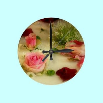 Pretty Flowers Wall Clock from Zazzle.com ~ JUSTART
