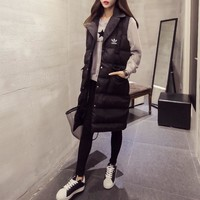 """""""Adidas"""" Women Fashion Solid Color Sleeveless Middle Long Section Tailored Collar Cotton-padded Clothes Vest Jacket Coat"""