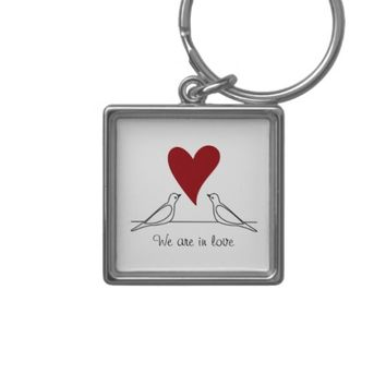 Cute White Doves in Love Girly Personalized Message Keychains: Sweet Gift Idea for Wedding Favors, Valentine's Day, or Anniversaries