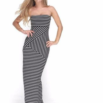 Bohemian Style Summer Dress Women Sexy Strapless Backless Striped Party Dresses Slim Casual Maxi Dress Vestidos De Festa 899