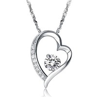 Fashionable White Gold Plated Silver Crystal Necklace
