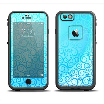 The Bright Blue Vector Spiral Pattern Apple iPhone 6 LifeProof Fre Case Skin Set