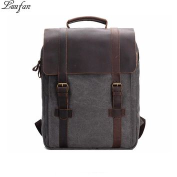 New Vintage Crazy Horse Leather Canvas Men women Backpack Teenagers School Back Pack Large Women Laptop day pack Travel Bag