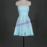 2014 short sky blue chiffon bridesmaid dresses,chic cute gowns for wedding party,cheap strapless maid of hoor dress hot.
