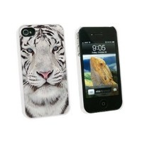Graphics and More White Bengal Tiger with Blue Eyes - Snap On Hard Protective Case for Apple iPhone 4 4S - White - Carrying Case - Non-Retail Packaging - White