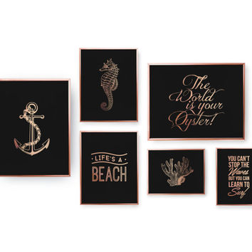 SET of 6 Prints, Nautical Prints, Maritime Poster, Bedroom Decor, Rose Gold Foil Print, Home Decor, Nautical Decor, Rose Gold Wall Art,