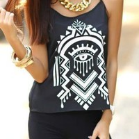 Tribe Pattern Black Tank Tops