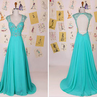 Blue Deep V Neck Cap Sleeve Beading Long Prom Dress/Floor Length A Line Evening Dress/Sexy Party Dress/Blue Long Chiffon Prom Dress DAF0051