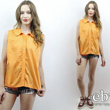 Orange Blouse Sleeveless Blouse Orange Shirt Summer Blouse 1970s Blouse 70s Blouse Orange Top Tank Top Button Up Blouse XL