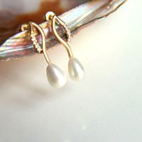 Earrings:Gold plated brass earring hooks with white pearls, gold plated studs earring five zircon crystals on the hook, christmas, wedding