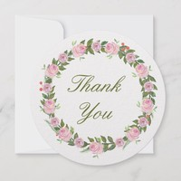 Floral Wreath Round Thank You Cards