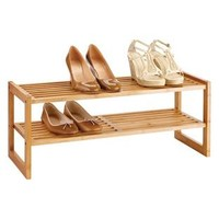 2-Tier Bamboo Stackable Shoe Shelf | The Container Store