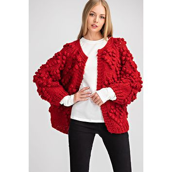 Bubble Heart Cable Knit Cardigan - Red  ONLY 1 S/M LEFT
