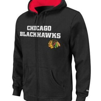 Youth Chicago Blackhawks Reebok Sportsman Full-Zip Hoodie-Black
