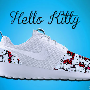 Hello Kitty Roshe Run, Roshe Run, Nike Roshe Run, Hello Kitty Shoes, Custom Hello Kitty Shoes, Hello Kitty Inspired,