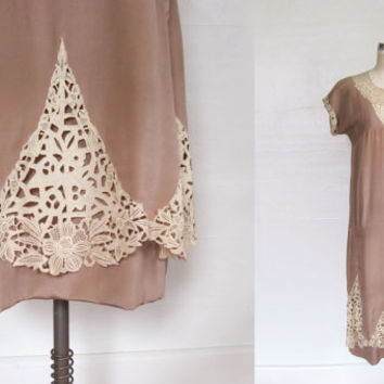 1920s Dress / CUTWORK Lace Flapper Dress / S M
