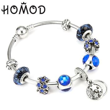 HOMOD New Arrival Original European Moon Star Charms Beads Fits Pandora Bracelets & Bangles Girlfriend lover Gift Jewelry