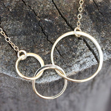 Linked circle necklace - solid bronze linked circles . 14K gold-filled chain . simple, minimal jewelry