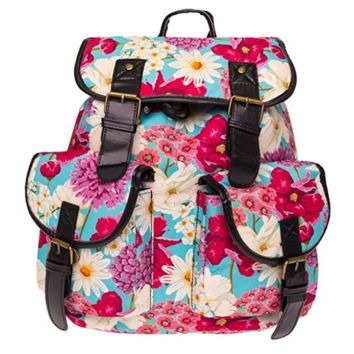Creative Women's Canvas Red Flower Backpack School Book Bag Sports Daypack