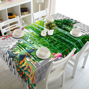 NEW 3D Tablecloths Bamboo and Peacock Printing Waterproof/oil-proof Washable Thicken Rectangle Dining Table Tea Table Cloth-T007