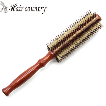 Portable Natural Bristle Anti-static Curly Retro Wood Handle Hair Care Styling Comb Radial Brush Hairdressing Tool