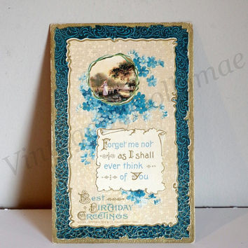 Antique Postcard Birthday Greetings- Made in Germany- Forget Me Not Flowers / Edwardian Era- P.S. Dresden Series- Postmarked 1914