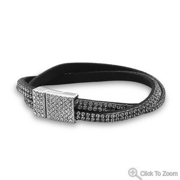 Glitzy Smoky Crystal Hollywood Fashion Bracelet
